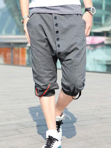 Hot Sale Men Drawstring Tie Pockets Cotton Three-quarter Pants $11.53