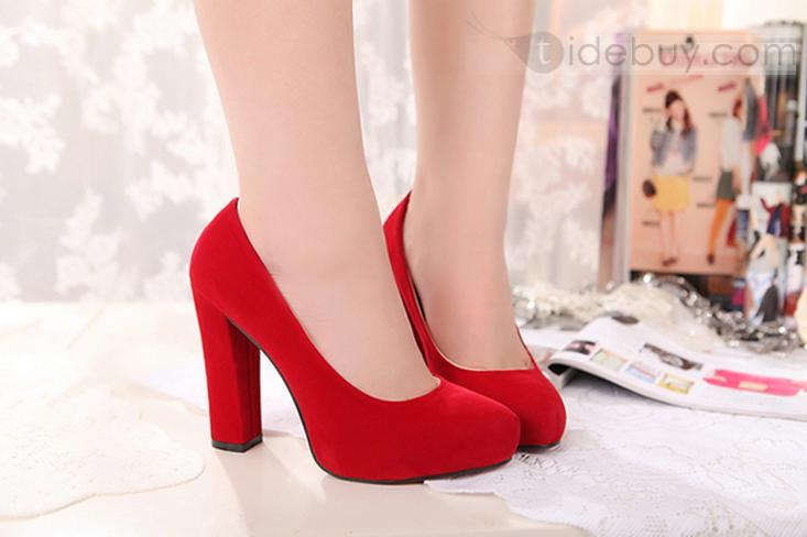 Sexy Red Platform PU Upper Closed Toe Chunky Heels Women&39s Shoes