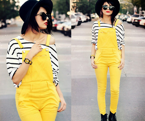 Strap Suspender Jeans Yellow$42