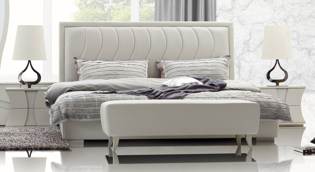 Modern leatherette bedroom furniture in white features unique design on padded tufted for Quality white bedroom furniture