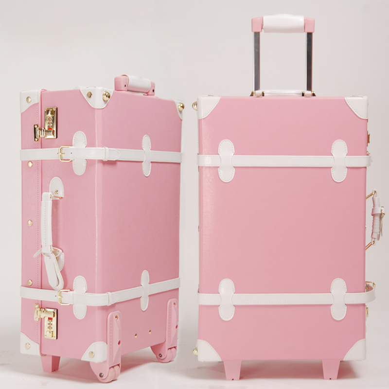 Pink Vintage Travel Luggage on We Heart It