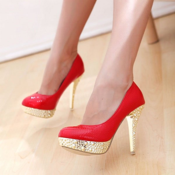 Red and gold high heels | Woman's heaven by Adrian Lungu | WHI