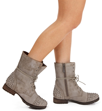 Taupe Lace Up Studded Combat Boots by ★ako taco★ | WHI
