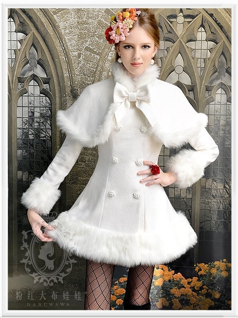 Califorward - Women's White Fur Trimmed Coat with Cape - Free ...