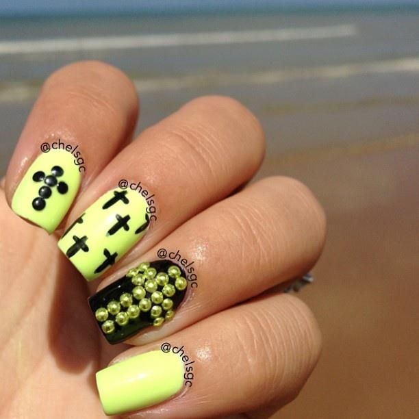 Nails with cruces | We Heart It | black, nails, and neon