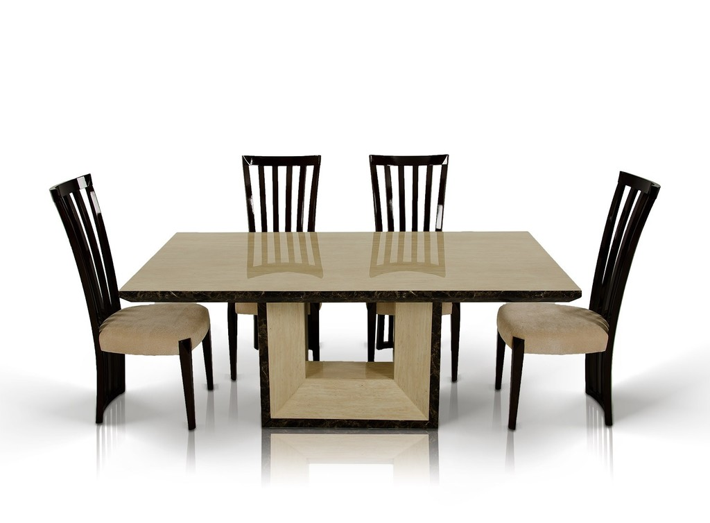 Modern marble dining table set furniture in brown for Unusual shaped dining tables