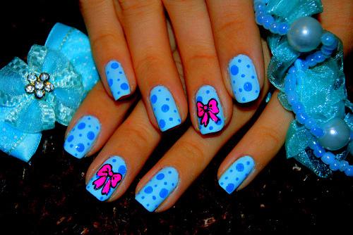 Pink bow nail art ideas