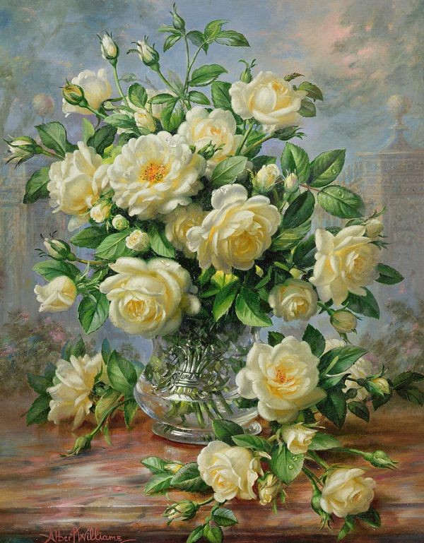 Princess Diana Roses In A Cut Glass Vase Painting By