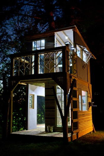 a two story tiny house tower on we heart it - Two Story Tiny House