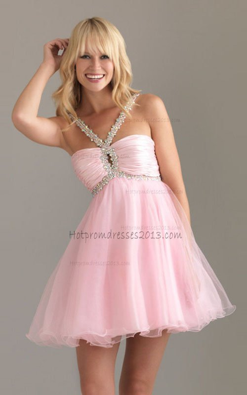 A Line Sequin Trim Short Baby Pink Two Straps Prom Dresses Halter ...