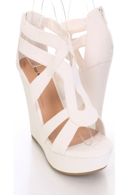 White Faux Leather Open Toe Wedges @ Amiclubwear Wedges Shoes ...