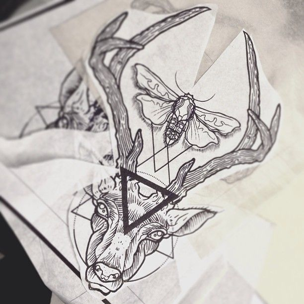 Deer Geometry Tattoo By Dasleitbild Tattoos