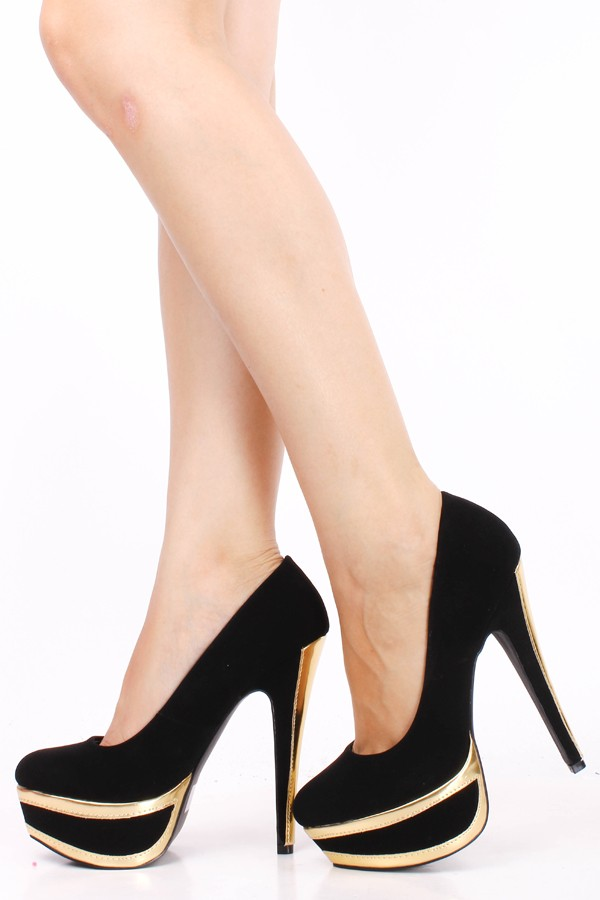BLACK NU BUCK GOLD TRIM ALMOND TOE PLATFORM HIGH HEEL PUMPSWomens