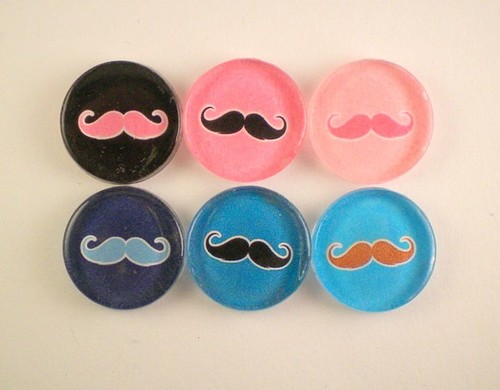 His and Her Mustaches of Six Magnets by MagnetoidMagnets on Etsy