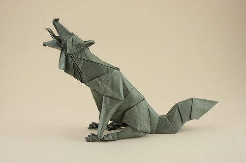 Group of origami wolf ...