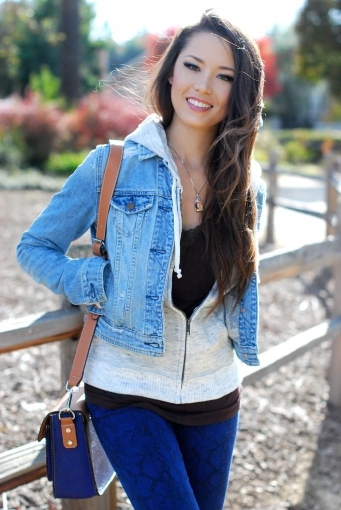 Denim Jacket Over A Hoodie Casual Winter Layers x by MIA | WHI