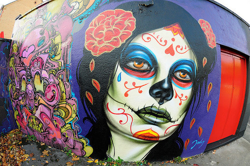 El mac photorealistic street art gallery for Day of the dead mural