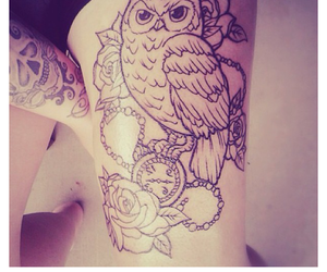 owl tattoo leg rose