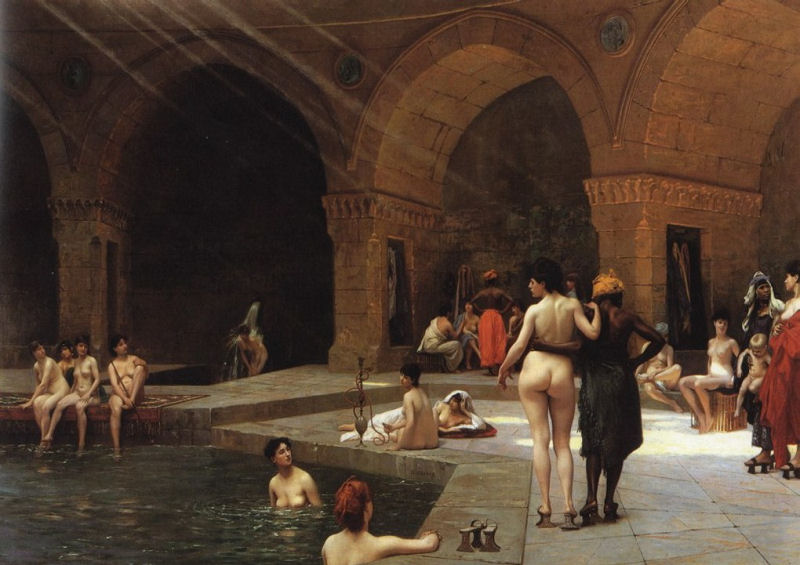 Bathing in a cold river