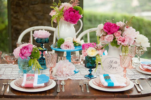Aqua Flowers and Tablescapes Inspirations Creations Elizabeth Anne