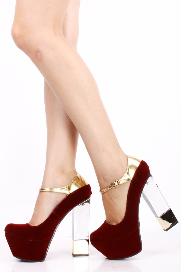 GARNET VELVET METALLIC STRAP GOLD ACCENTED CLEAR CHUNKY HIGH HEEL