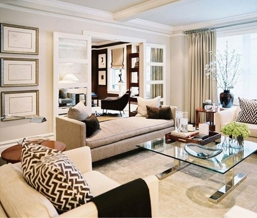 Elegant White Beige Living Room Decorating Ideas Eclectic