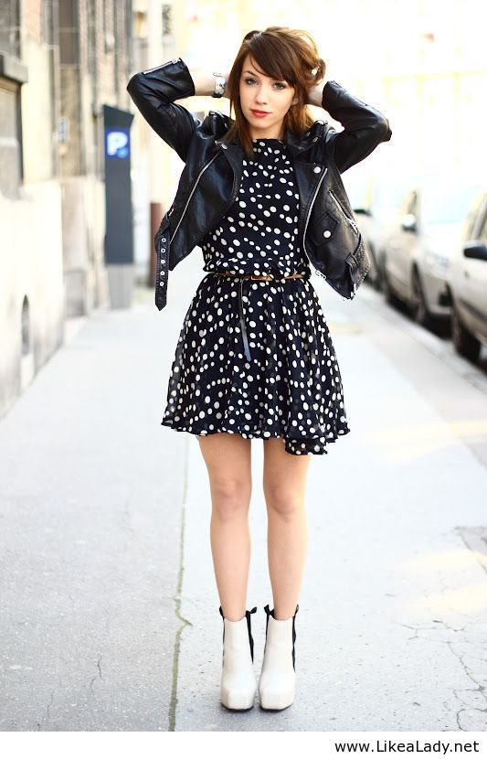 Polka dot dress and black leather jacket by Pasca Teodora