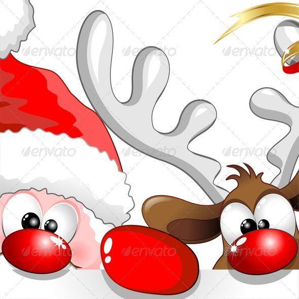 vectors funny christmas santa and reindeer cartoon. Black Bedroom Furniture Sets. Home Design Ideas