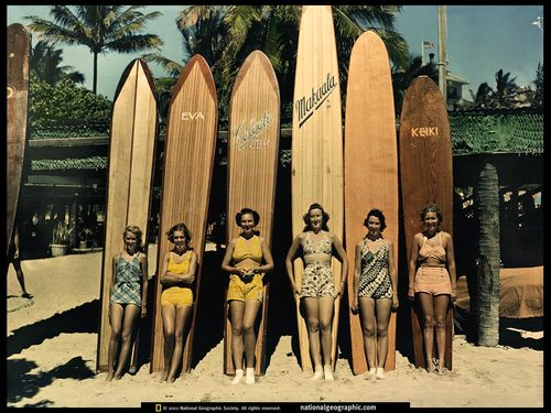 Vintage Waikiki Surfer Girls Wallpaper