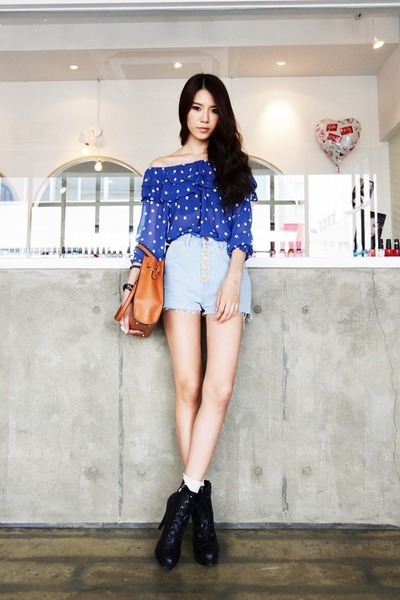 Light-blue-denim-shorts-blue-sheer-blouse_400_large