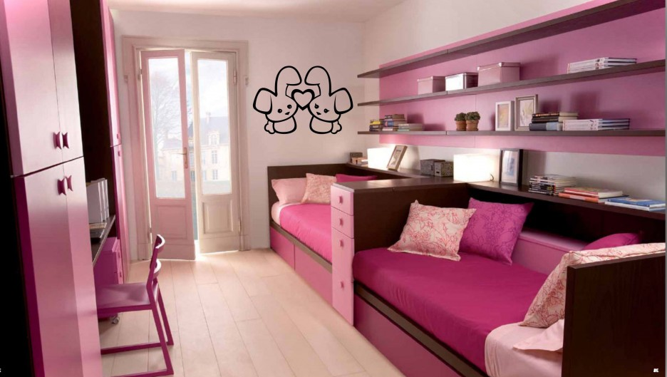 long design applied in tween girl bedroom ideas finished with violet and pink color with unique shelving unit - Bedroom Design And Color