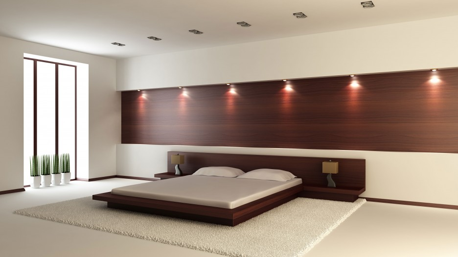 floating bed design applied in mens bedroom ideas made from wooden material with wooden wall panel idea - Bedroom Bed Ideas