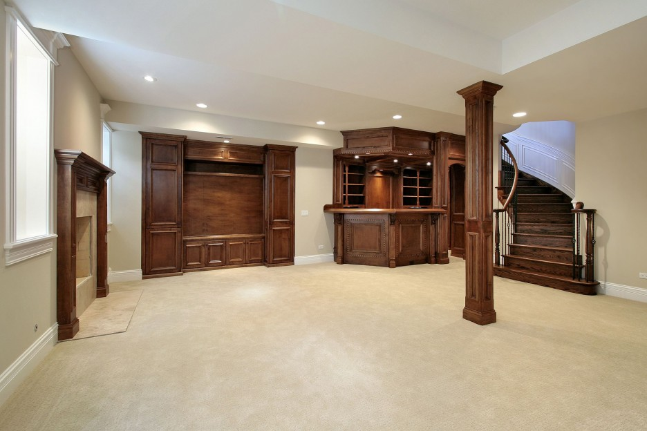 Ultra Spacious Interior Design From Renovating A Basement With Small Wooden Pillar Idea