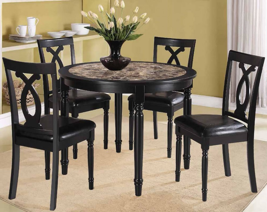 Small Dining Table Set Part - 23: Fascinating Round Small Dining Tables Fancy Black Wood Dining Set Combined  With Leather Seat Finished In Traditional Classic Furniture Design
