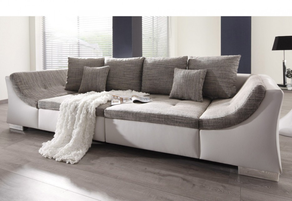 Intriguing Big Sofas On Wooden Flooring With Grey Cuhsions Made In ...