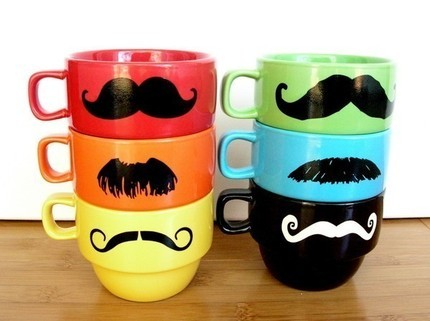 Etsy :: Upcycled Modern Stacking Mustache Mugs With Holder