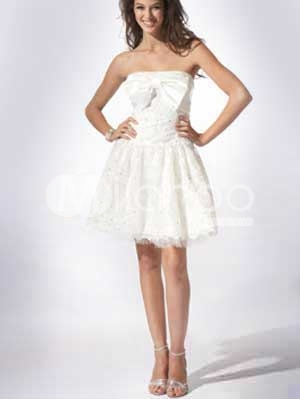 White Strapless Dress on Strapless Bow Lace Satin Cocktail Graduation Dress Graduation Dresses