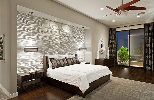 Elegant Textured Wall Tiles Draw Your Attention Instantly Finished With Artful Wall  Panel Design With Wooden Flooring Unit Idea, Black White Headboard, ...