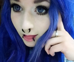 contacts, purple hair, and scene image
