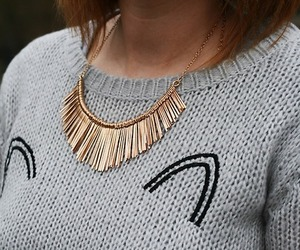 gold, necklace, and sweater image