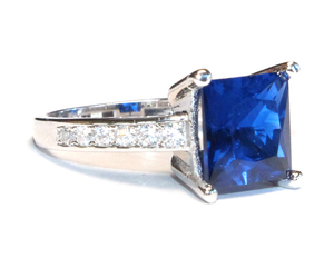 promise ring, sapphire ring, and princess cut image