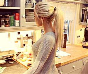 blonde, kitchen, and cute image