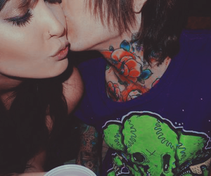 couple, kiss, and tattoo image