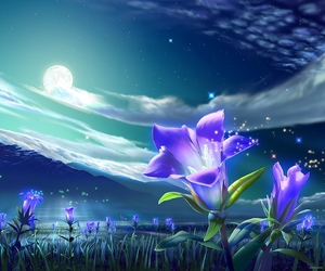 flowers, stars, and moon image