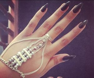 nails, black, and jewelry image