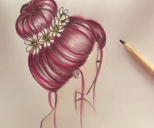 drawing, draw, and hair image