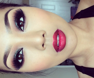 beautiful, red lips, and make up image