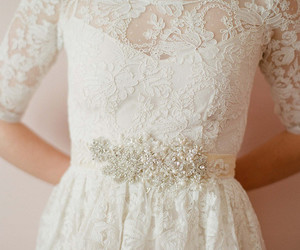 white, lace, and wedding image