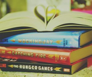 book, catching fire, and hunger games image