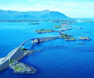 norway, road, and ocean image